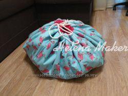 Плеймат 140 см, игровой коврик, мешок, корзина для игрушек,   HelenaMaker