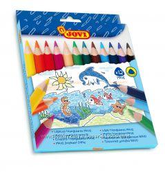 Карандаши для малышей от 1 года, цветные утолщенные треугольные JOVI