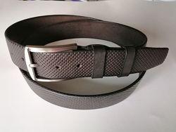 Кожаный ремень кофейного цвета с оттиском джинсовый шир 40 мм