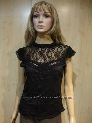 Красивая чёрная блуза кружево.