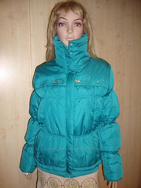 Бирюзовая куртка деми 46-48.