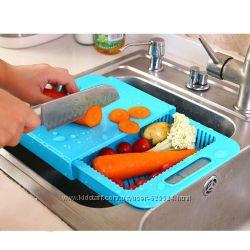 Разделочная доска на мойку, доска для нарезки и мытья овощей 1002123