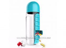 Таблетница и бутылочка для воды 2 в 1, органайзер для лекарств 1007331