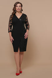 Платье нарядное, силуэтное, с запахом, рукава из сетки, большой размер