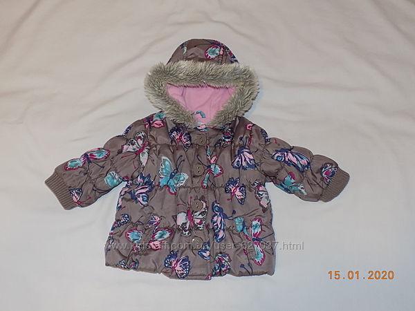 Теплая курточка на девочку 9-12мес, 74см осень-весна