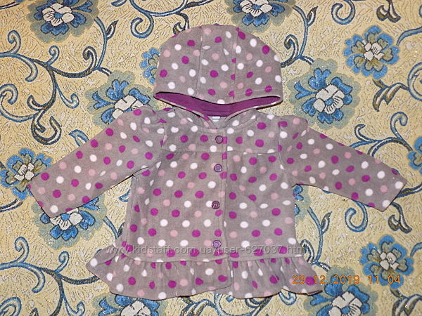 Флисовая кофта ввиде курточки на девочку 9-12мес