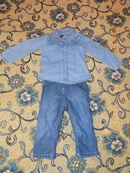 Джинсовые тонкие штаны 9-12мес