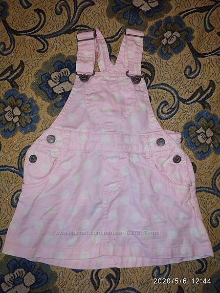 Джинсовый розовый сарафан на 6-9 мес рост 68-74 см
