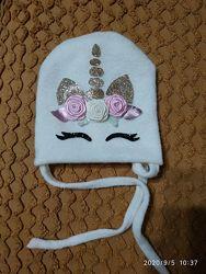 Осенняя ангоровая шапочка на девочку 1-1,5года обхват 44-45см