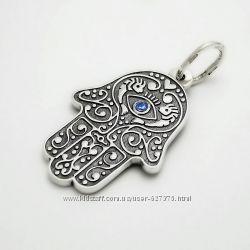 Серебряная подвеска талисман Хамса с камнем