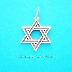 Серебряная подвеска талисман Шестиконечная Звезда Давида