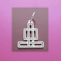 Буддийский серебряный талисман Бесконечный Узел