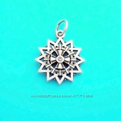 Звезда Эрцгаммы двусторонний серебряный талисман с камнями