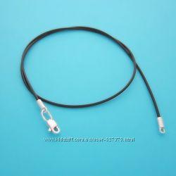 Чёрный шнурок с серебром для амулета