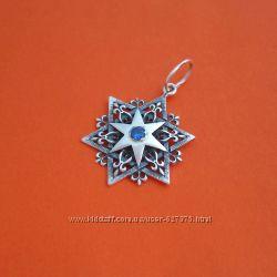 Серебряная подвеска талисман Шестиконечная Звезда с камнем