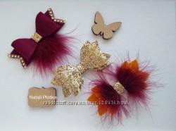 Бантики  и цветочные заколки из Эко-кожи и фетра