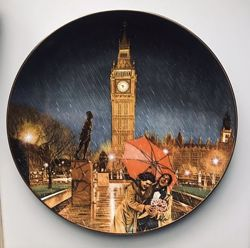 Коллекционная тарелка Windows on the World, Rainy Day in London из США
