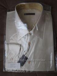 Классическая мужская рубашка, бежевая, на солидного мужчину