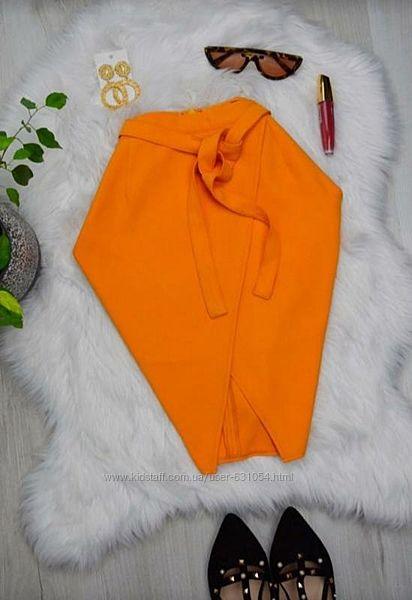 Классная летняя яркая юбка миди на запах с поясом и разрезом 12р