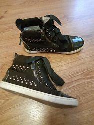 Стильные подростковые ботинки кеды замша кожа