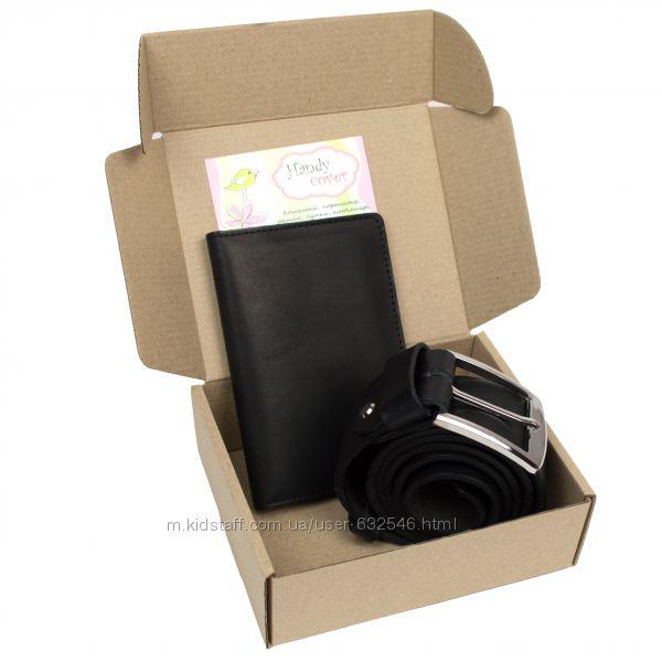 Подарочный набор 15 черный Ремень мужской  чехол 4 в 1