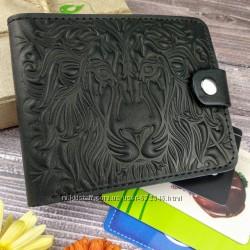 Кожаное портмоне П4 со львом