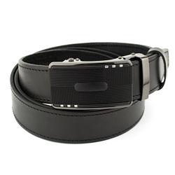 Ремень мужской кожаный на автомате SF-355 black 3,5 см