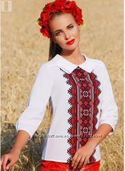 Элегантная стильная белая блузка с украинским орнаментом