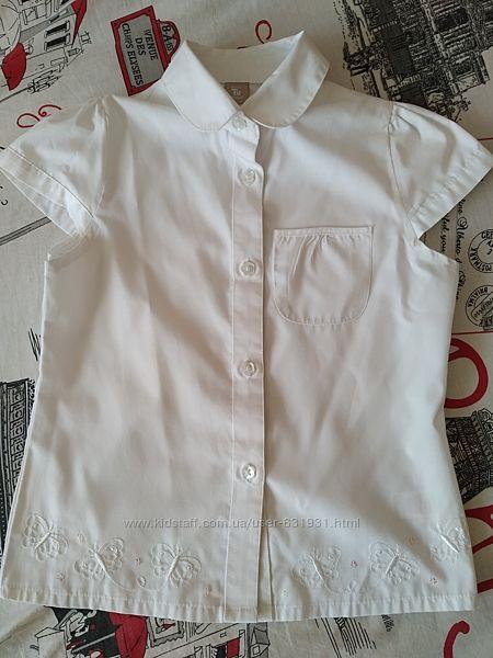 Нарядная блузочка Tu, для первоклашки, с вышивкой, р. 122 на 7 лет