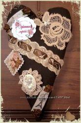 Интерьерное, текстильное сердечко-подвеска
