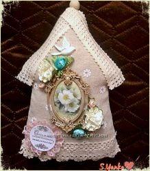 Текстильные домики-подвески с пожеланиями