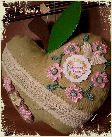 Текстильное яблоко-подвеска с пожеланиями