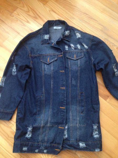 Женский удлиненный джинсовый пиджак