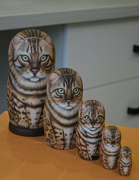 Матрешки авторские Бенгальские коты.