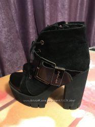 Ботинки на толстом каблуке. Натуральная Кожа  и Замша 38р