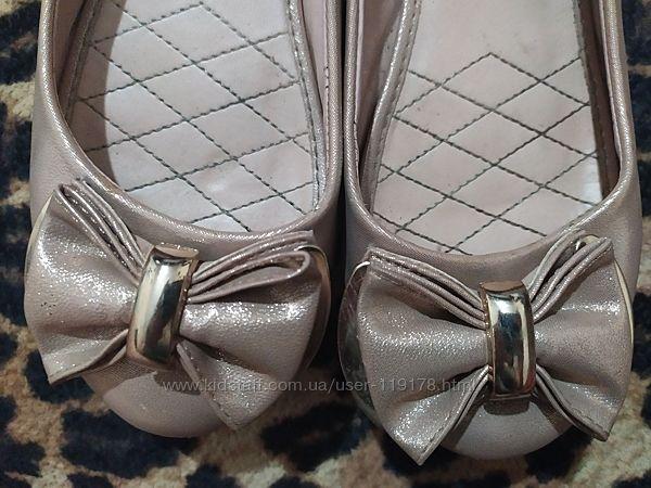 Золотистые туфельки балетки 21 см