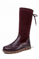 Кожаные сапоги для девочек Берегиня 32-35 размер