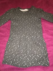 Трикотажное  теплое платье - туника Next  на 9-11 лет