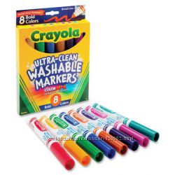 Смываемые маркеры Crayola Washable Markers, Broad Point 8 шт - оригинал США