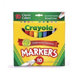 Классические яркие нетоксичные маркеры Crayola Крайола 10 шт, оригинал США