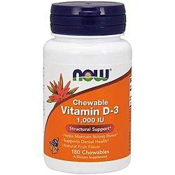 Now Foods, Жевательный витамин D-3, натуральный фруктовый вкус, 1000 МЕ