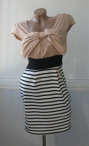 Платье летнее, комбинированное, бант, полоска морячка