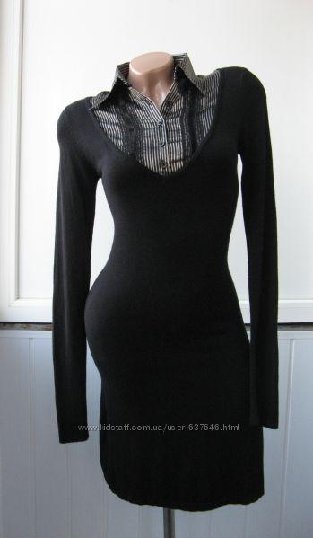 Платье теплое с эффектом рубашки 2 в 1