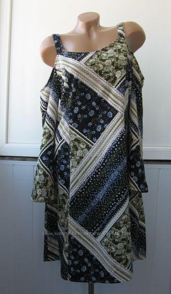 Платье летнее шифоновое, вырезы на плечах, свободное, длинный рукав