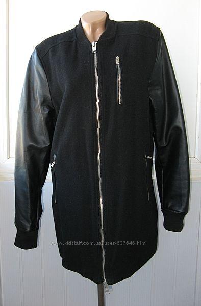 Куртка бомбер длинная, рукава кожзам эко кожа . Pull&Bear