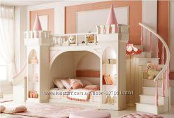 Замок принцессы- двухъярусная, двухэтажная кровать чердак c горкой