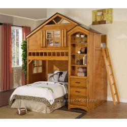 Бремен - двухъярусная кровать домик, с ящиками, и полками