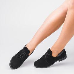 Туфли женские натуральная замша черные на низком ходу Украина гарантия