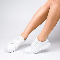 Классические женские кеды белые на шнуровке натуральная кожа гарантия