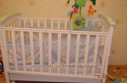 Кроватка Верес для Вашего малыша в бело цветематрас Венетто с наматрасником